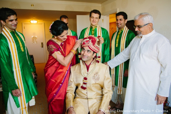 Indian wedding getting ready groom family