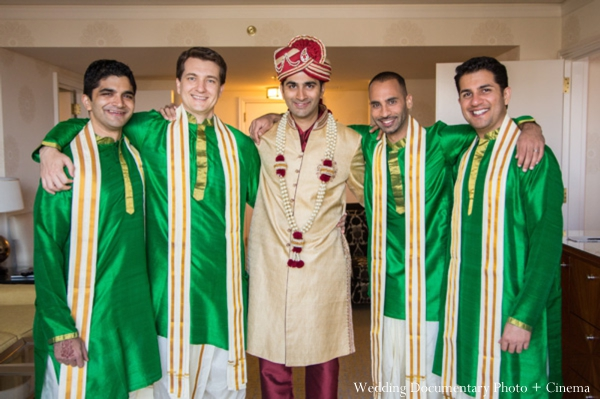 Indian wedding getting ready groom groomsmen