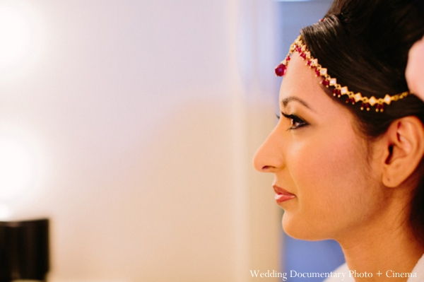 Indian wedding getting ready tikka bride