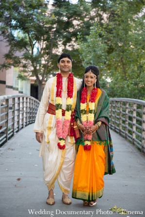 Indian wedding portrait bride groom garden floral