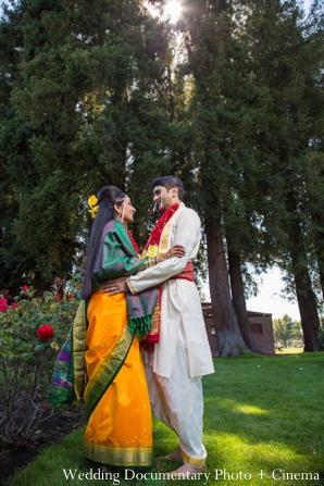 Indian wedding portrait bride groom traditional garden