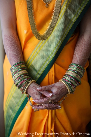 Indian wedding portrait bride mehndi bangles detail