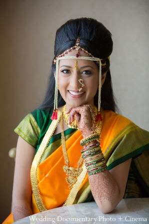 Indian wedding portrait bride tikka mehndi bangles