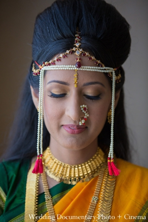 Indian wedding portrait bride traditional tikka