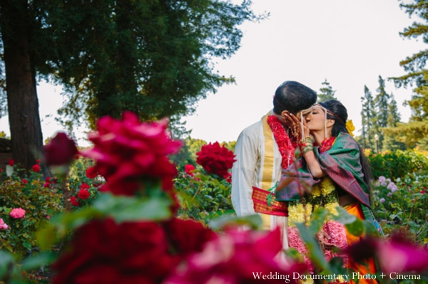 Indian wedding portrait garden flowers bride groom