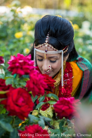 Indian wedding portrait traditional bride flowers