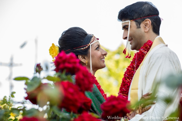 Indian wedding portrait traditional bride groom flowers