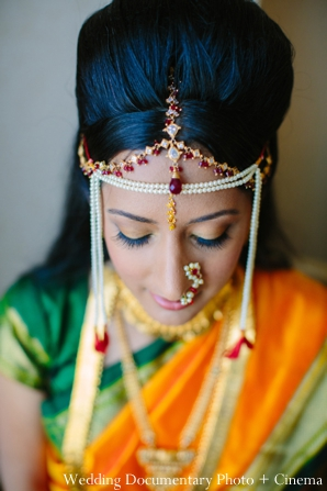 Indian wedding portrait traditional bride tikka jewelry