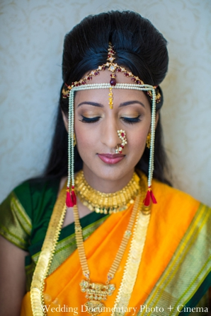 Indian wedding portrait traditional bride tikka