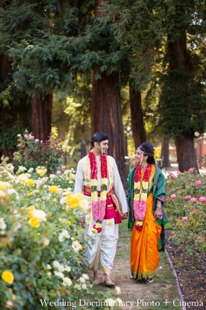 Indian wedding portrait traditional garden bride groom