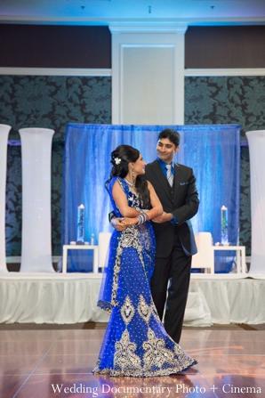 Indian wedding reception dancing groom bride
