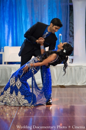 Indian wedding reception first dance bride groom