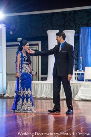 Indian wedding reception groom bride dancing