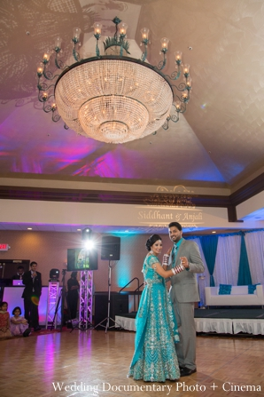 teal,Wedding Documentary Photo + Cinema,bridal lengha,indian wedding reception,dance floor,reception dance floor,bride and groom dancing,indian wedding reception lengha,indian wedding traditional dance,inspiration for bridal reception dress
