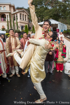 Indian wedding baraat grooms celebration in Concord, California Indian Wedding by Wedding Documentary Photo + Cinema