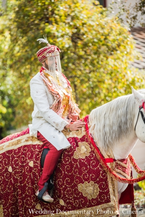 Indian wedding baraat horse traditional dress in Concord, California Indian Wedding by Wedding Documentary Photo + Cinema