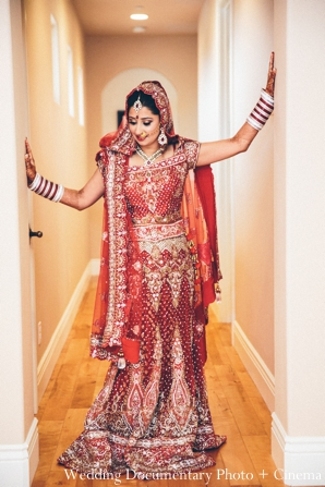 red,gold,bridal fashions,portraits,Wedding Documentary Photo + Cinema,indian wedding bride,indian wedding ceremony dress,traditional ceremony lengha,maharani bride