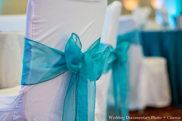 teal,Planning & Design,Wedding Documentary Photo + Cinema,indian wedding reception,indian wedding decor,reception venue,reception table setting,indian wedding inspiration,chairs with bows,inspiration for chairs
