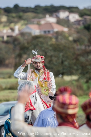 Indian wedding traditional baraat white horse in Concord, California Indian Wedding by Wedding Documentary Photo + Cinema