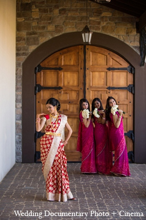 Indian wedding bride bridesmaids fashion in Pleasanton, California Indian Wedding by Wedding Documentary Photo + Cinema