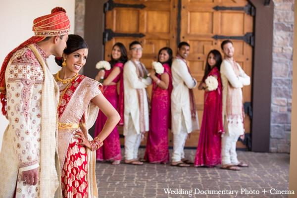 Indian wedding bride groom bridal party in Pleasanton, California Indian Wedding by Wedding Documentary Photo + Cinema
