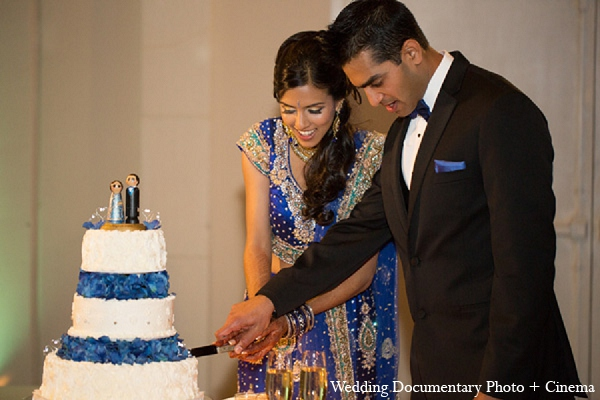 Indian-wedding-reception-cake-bride-groom in Pleasanton, California Indian Wedding by Wedding Documentary Photo + Cinema