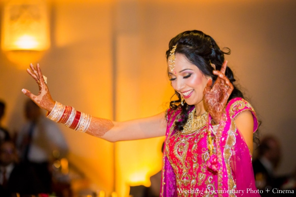 Indian-wedding-bride-dancing-reception-hot-pink