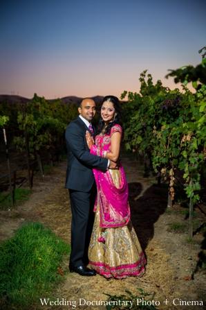 Indian-wedding-bride-groom-portrait-hot-pink-lengha