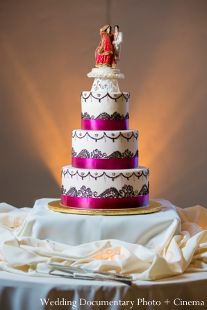 Indian-wedding-reception-cake-tall-cake-topper