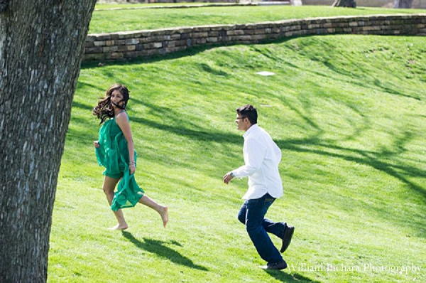 Indian wedding engagement portraits outdoors running in Sweetheart Sunday Winners ~ Anokhi and Amit