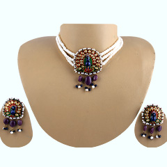 Peacock-choker-necklace-set