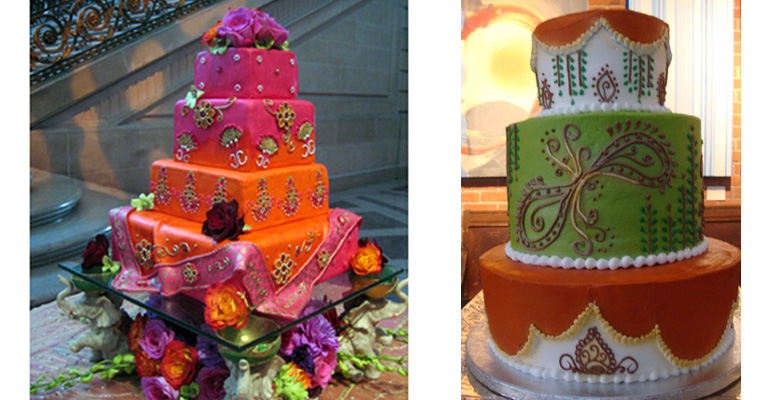 Mehndi Cake Table : Indian style wedding cakes maharani weddings