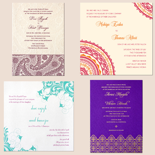 Indian wedding, bridal dress style invitations copy