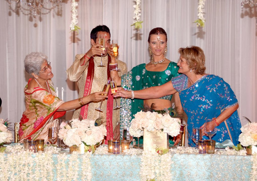 Indian wedding, bride & groom reception