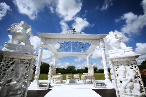 Indian wedding mandap, simple, white