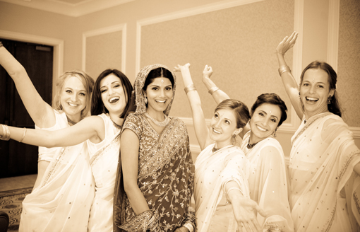Indian bride with bridesmaids