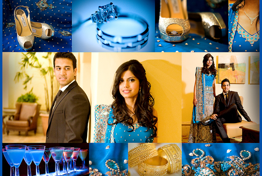 Indian wedding details, blue