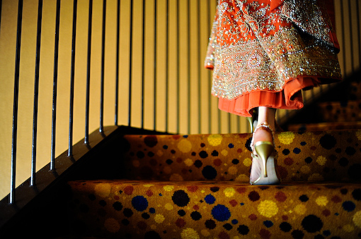 Indian bridal lengha and shoes