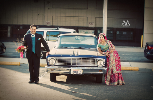 Indian bride and groom with car