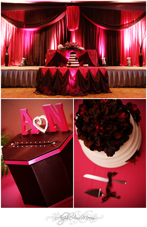 Indian wedding ideas, reception details, pink and brown