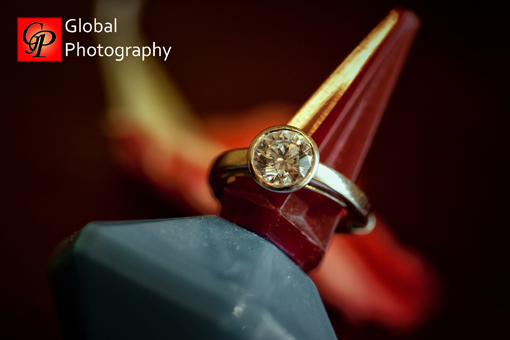 South indian wedding, bezel set engagement ring