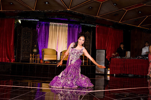 Indian wedding, sangeet, indian bride purple lengha