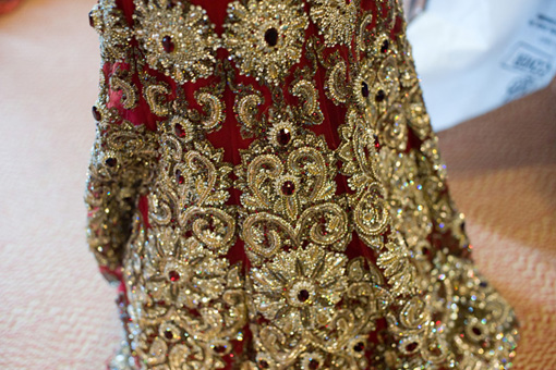 Indian wedding, red bridal lengha 1