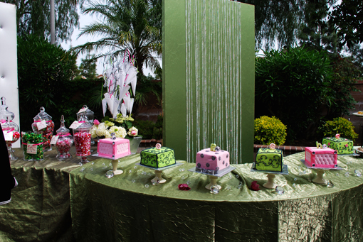 Indian wedding green and pink mehndi dessert table