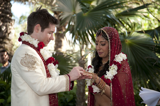 Indian wedding, bride and groom, gujurati, ceremony rings