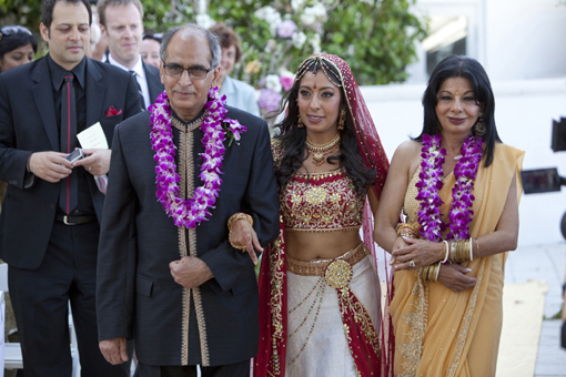 Indian wedding, bride's entry with parents