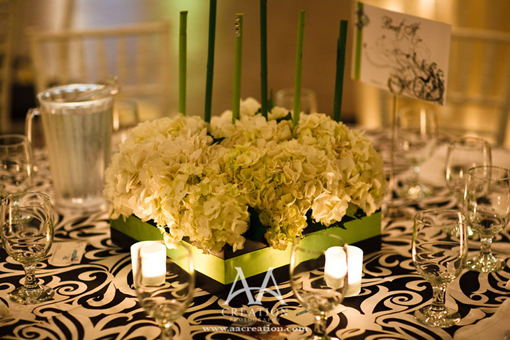 Indian wedding, green black and white decor 3