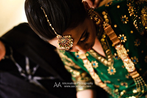 Indian wedding, green bridal lengha