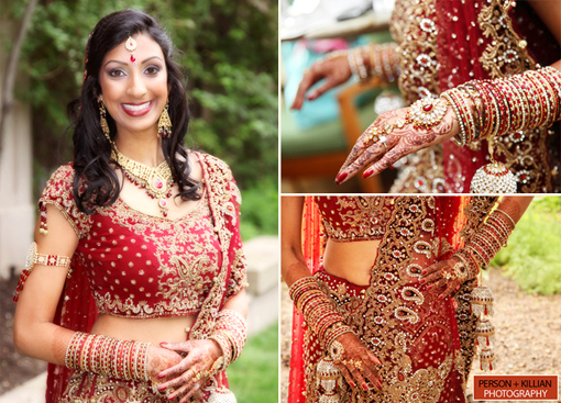 Indian wedding, traditional red modern indian bride