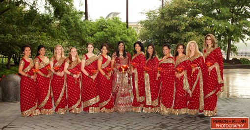 Indian wedding, bridesmaids sari
